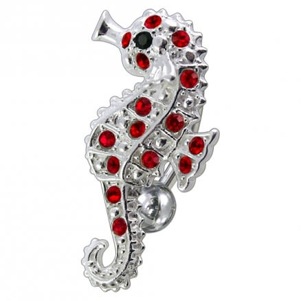 Fancy Jeweled Sea Horse Reverse Dangling Belly Ring