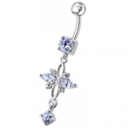 Fancy Red CZ Jeweled Dangling Navel Belly Button Ring