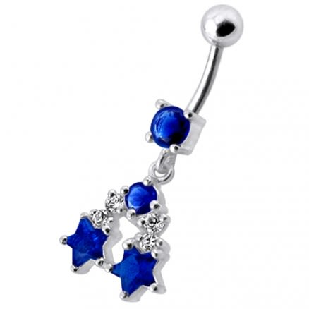 Fancy Jeweled Star Dangling Navel Belly Ring