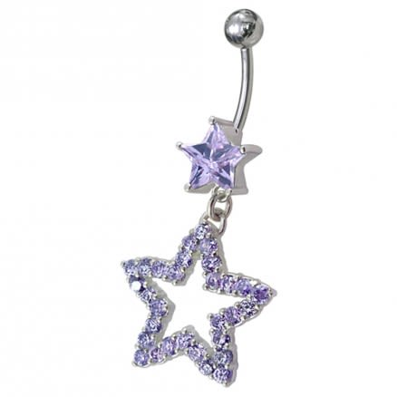 Fancy Jeweled Star Dangling Curved Bar Belly Ring