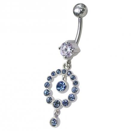 CZ Gem Round Ball Dangling Belly Ring Navel Body Piercing Jewelry