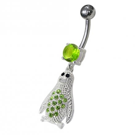 Jeweled Penguin Dangling Belly Ring