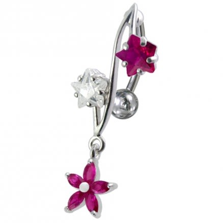 316L Surgical Steel Fancy Jeweled Dangling Reverse Curved Bar Belly Ring