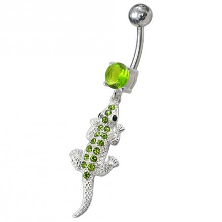 Fancy Jeweled Lizard Dangling Navel Belly Ring