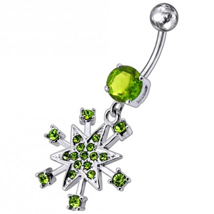 Jeweled Star Dangling Belly Ring