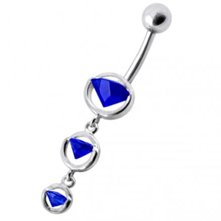 Fancy Blue CZ Jeweled Studded Dangling Navel Belly Ring