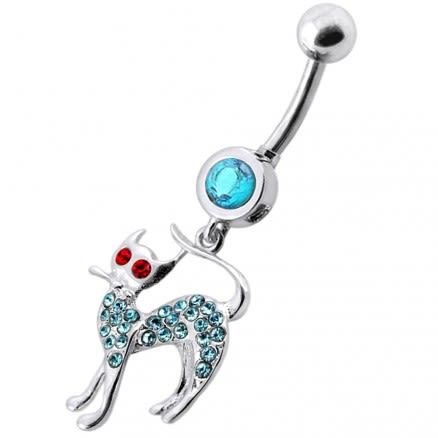 Fancy Jeweled Cat Dangling Navel Bar