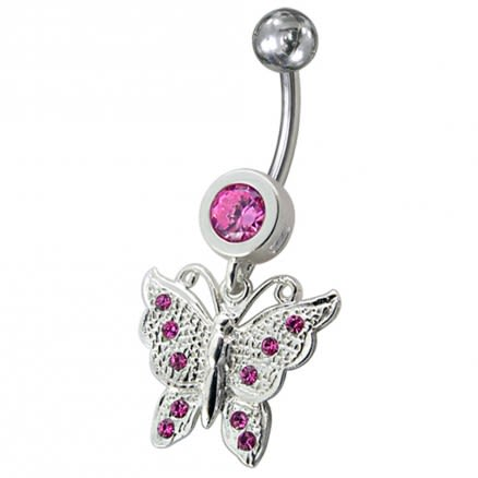 Fancy Jeweled Butterfly Dangling Navel Body Ring