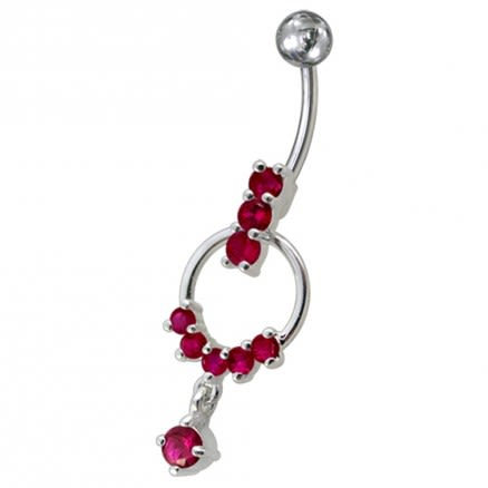 Fancy Red CZ Jeweled Dangling LOOP Banana Navel Belly Ring