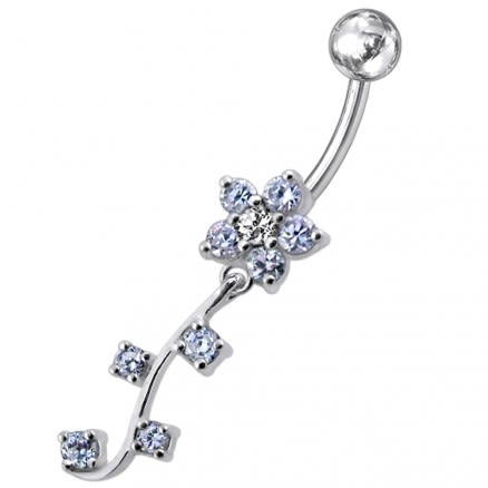 Fancy Blue CZ Jeweled Silver Flower Dangling Belly Ring