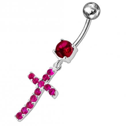 Sterling silver Jeweled Cross Dangling Navel Ring