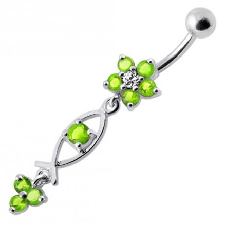 925 Sterling Silver Fancy Jeweled Dangling Flower With SS Banana Bar Navel Ring