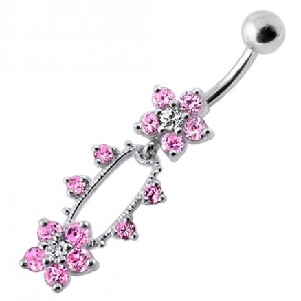 Fancy Jeweled Flowers Dangling Belly Ring