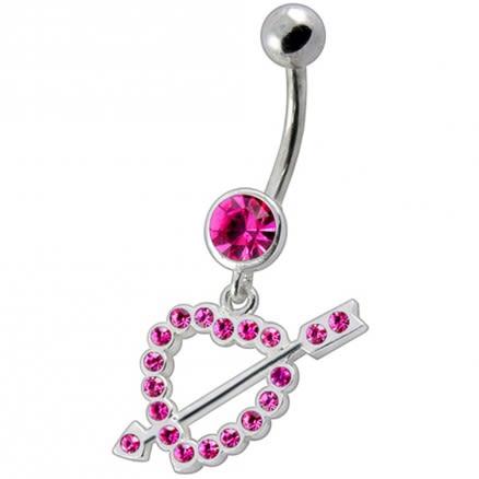 Fancy Jeweled Arrow In Heart Dangling Navel Ring