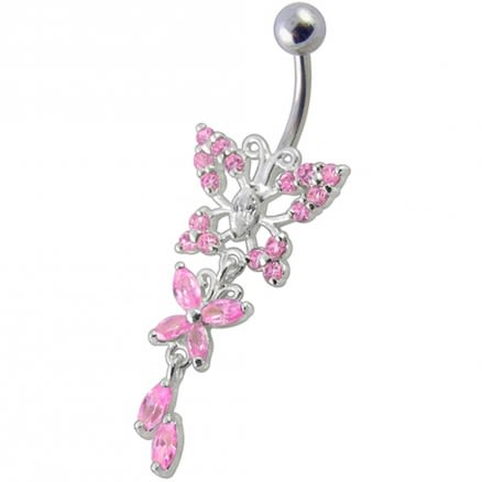 Fancy Jeweled Butterfly Dangling Navel Ring