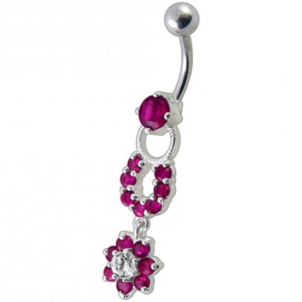 Fancy Red CZ Jeweled Silver Star Round Shape  Dangling Belly Ring
