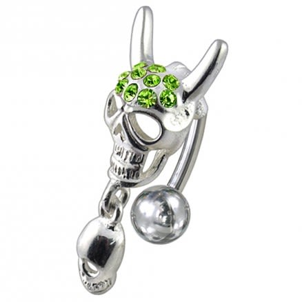 Jeweled Skull Dangling Reverse Belly Ring