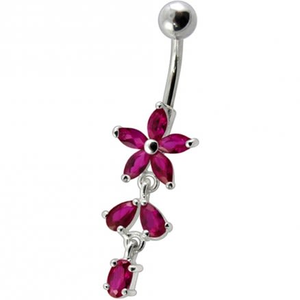 Fancy Purple CZ Jeweled Non Moving Silver Flower Dangling SS Bar Belly Ring