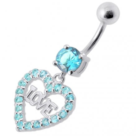 Fancy Jeweled Love Heart Symbol Dangling Belly Ring