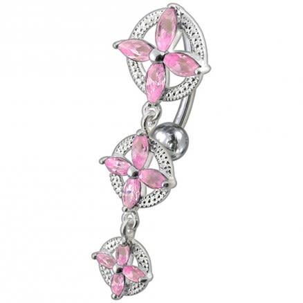 Fancy High Quality Zirconia Jeweled Dangling Banana Bar Navel Body Piercing Ring