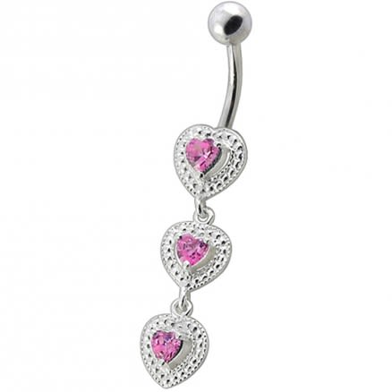 Fancy White Zirconia Jeweled Dangling SS Bar Belly Ring