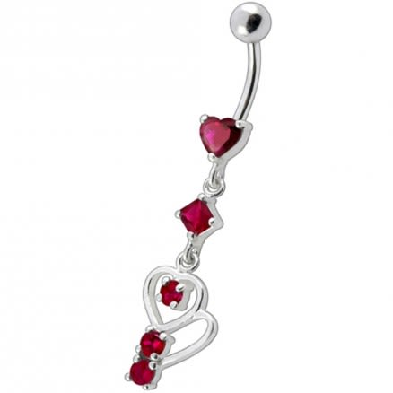 Fancy Pink Heart Shape Jeweled Small Dangling Heart Banana Bar  Belly Ring