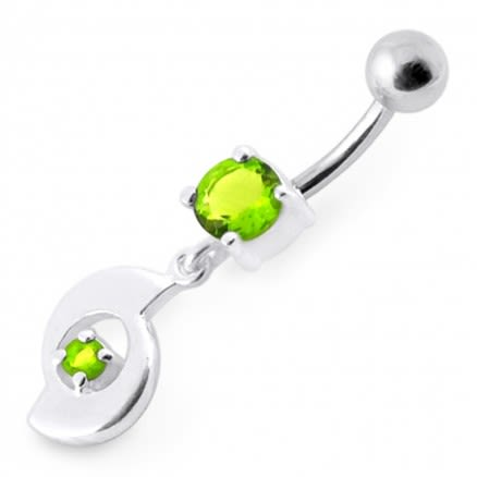 Fancy Jeweled Moving Dangling Curved Bar Belly Ring