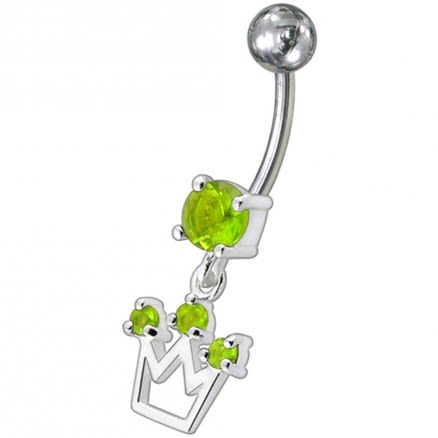 Fancy Silver Crown Jeweled Dangling Belly Ring