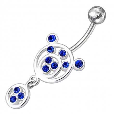 Fancy Double Round Jeweled Dangling 316L Banana Bar Belly Ring