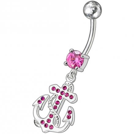 Fancy Jeweled Anchor And Cross Dangling Curved Belly Ring