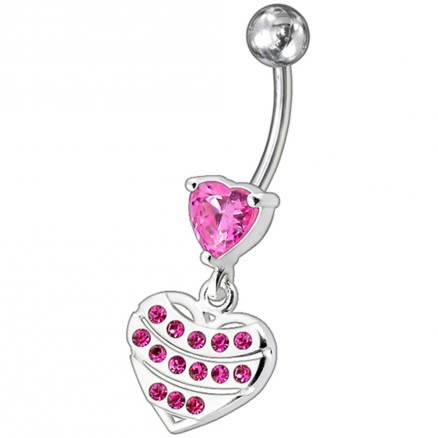 Fancy Stone Studded Sterling Silver Heart Dangling Belly Ring