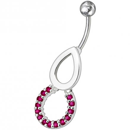Pear Jeweled Fancy Round Dangling Belly Ring