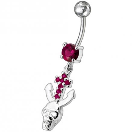 Jeweled Dangling Navel Ring With Fancy Devil Skull