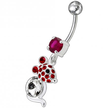 Jeweled Dangling Banana Bar Fancy Small Kitty Belly Ring