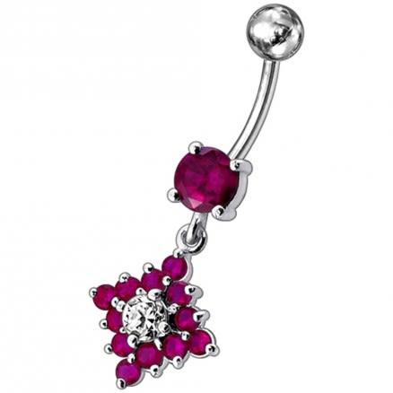 Red Gems Flower Belly Navel Ring Fancy CZ Gemmed Dangle Button