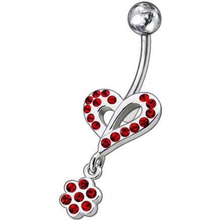 Fancy Heart Jeweled Dangling Belly Ring