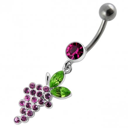 Fancy Red Cherry Stones Jeweled Dangling Curved Bar Belly Ring