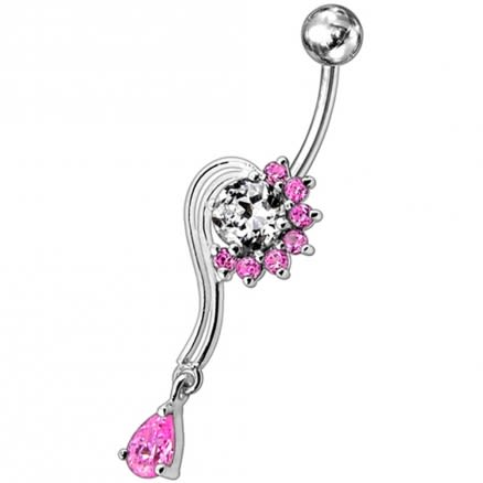 Fancy Flower With Teardrop Jeweled Dangling Navel Body Ring