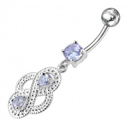 Fancy Jeweled Silver Dangling SS Bar Belly Ring PBM1622