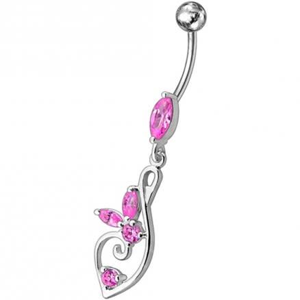 Silver Fancy Flower Jeweled Dangling 316L SS Bar Belly Body Ring