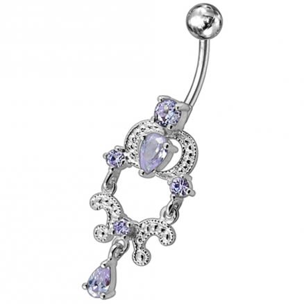 925 Sterling Silver Royal Design Jeweled Dangling Curved Bar Belly Ring
