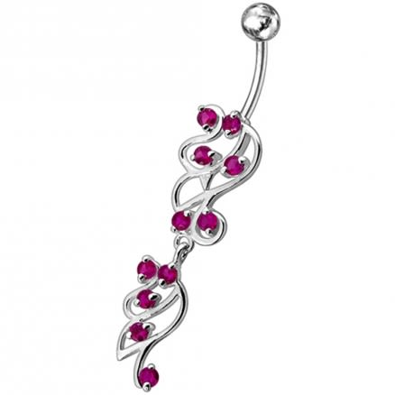 Fancy Sky Blue Color Stone Studded Dangling SS Bar Belly Ring