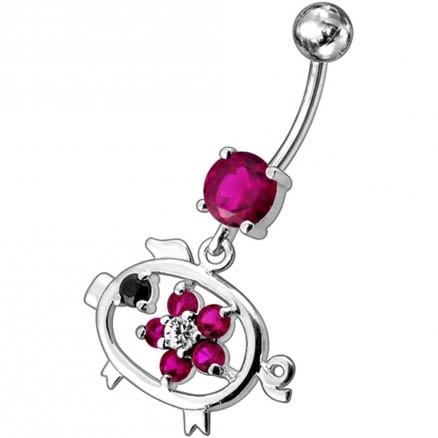 Fancy Jeweled Centered Flower Dangling Belly Button Ring