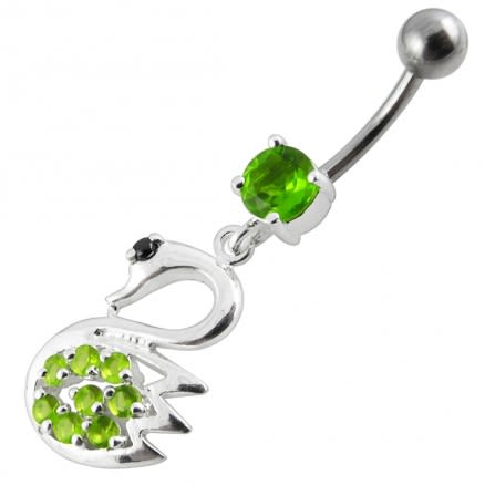 Fancy Jeweled Swan Silver Dangling Banana Bar Navel Body Ring