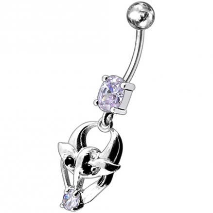 Fancy Jeweled Gothic Skull Silver Dangling With SS Bar Belly Ring