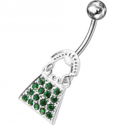 Jeweled Ladies Bag Silver Dangling SS Banana Navel Ring
