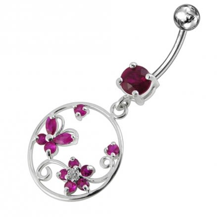Jeweled Fancy Silver Dangling SS Curved Bar Belly Ring