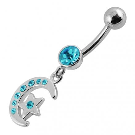 Jeweled Star Moon Fancy Silver Dangling SS Banana Bar Belly Ring