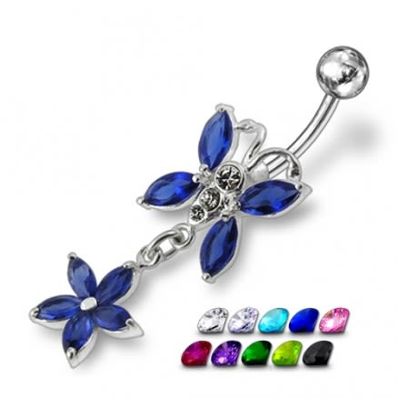 Jeweled Fancy Butterfly With Flower Dangling Curved Bar Belly Ring