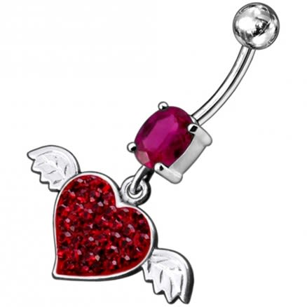 Pink Jeweled Fancy Flying Heart Silver Dangling Belly Ring With SS Curved Bar